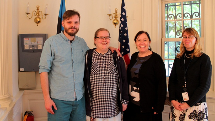 Martin Kanger Käeri, Kreeta Käeri and Erin Crouch, the Animation Generation team, together with Counselor for Public Diplomacy and Media Relations Kairi Saar-Isop at the Estonian Embassy in Washington. May 2016. (Kreeta Käeri/Animation Generation)